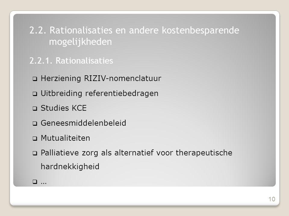 Herziening RIZIV-nomenclatuur  Uitbreiding referentiebedragen  Studies KCE  Geneesmiddelenbeleid  Mutualiteiten  Palliatieve zorg als alternatief voor therapeutische hardnekkigheid  … 10 2.2.