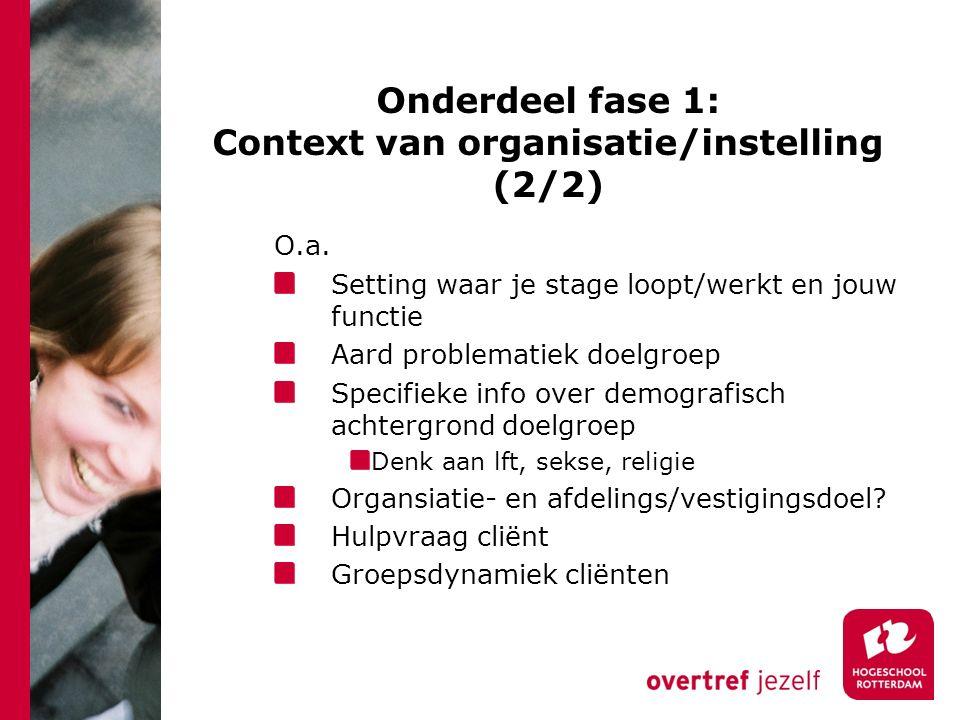 Onderdeel fase 1: Context van organisatie/instelling (2/2) O.a.
