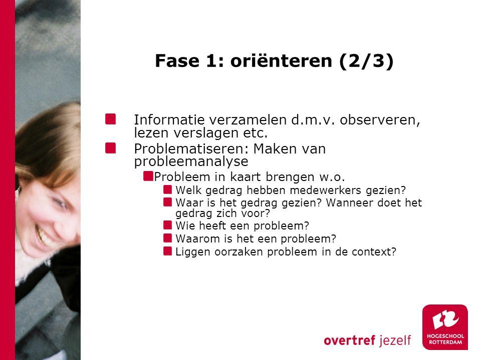 Fase 1: oriënteren (2/3) Informatie verzamelen d.m.v.