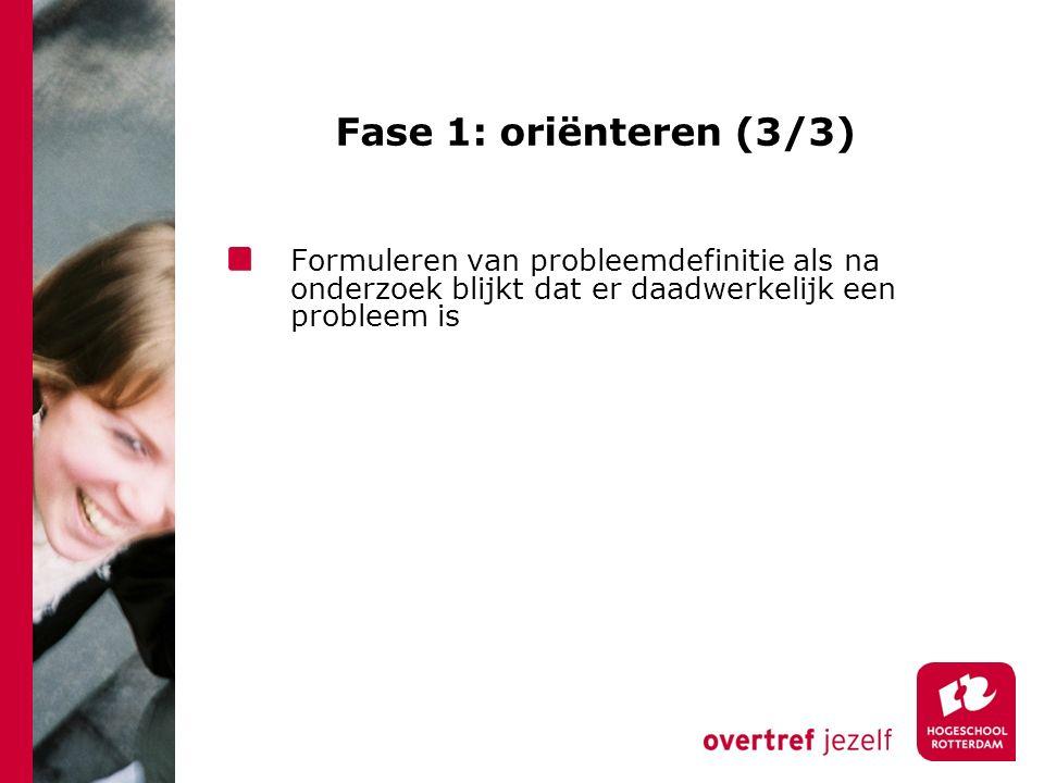 Fase 1: oriënteren (3/3) Formuleren van probleemdefinitie als na onderzoek blijkt dat er daadwerkelijk een probleem is