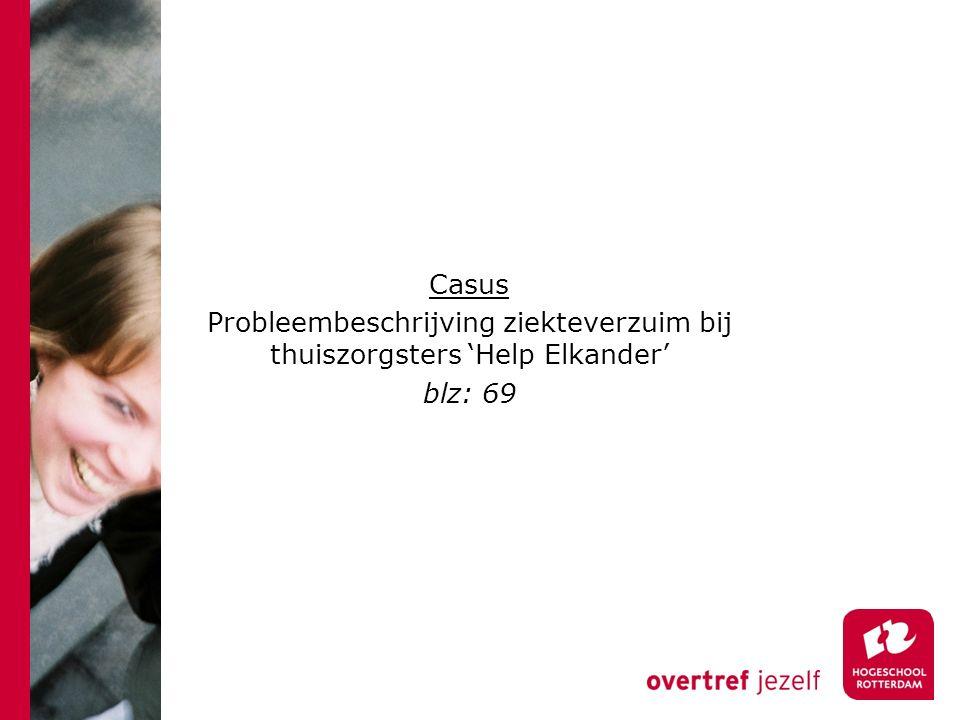 Casus Probleembeschrijving ziekteverzuim bij thuiszorgsters 'Help Elkander' blz: 69