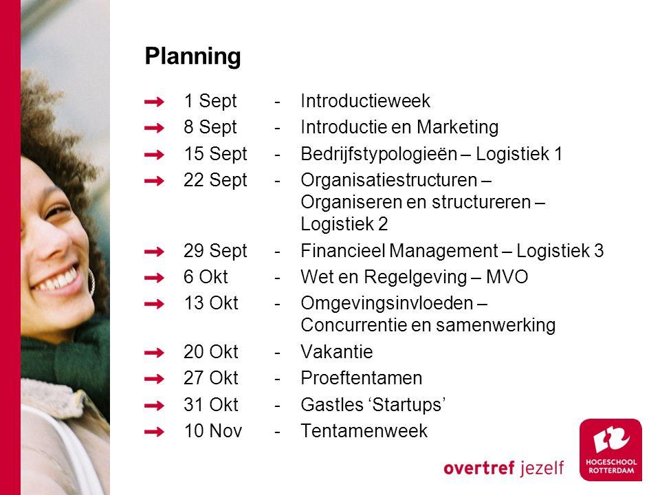 Planning 1 Sept-Introductieweek 8 Sept-Introductie en Marketing 15 Sept-Bedrijfstypologieën – Logistiek 1 22 Sept-Organisatiestructuren – Organiseren en structureren – Logistiek 2 29 Sept-Financieel Management – Logistiek 3 6 Okt-Wet en Regelgeving – MVO 13 Okt-Omgevingsinvloeden – Concurrentie en samenwerking 20 Okt-Vakantie 27 Okt-Proeftentamen 31 Okt-Gastles 'Startups' 10 Nov-Tentamenweek
