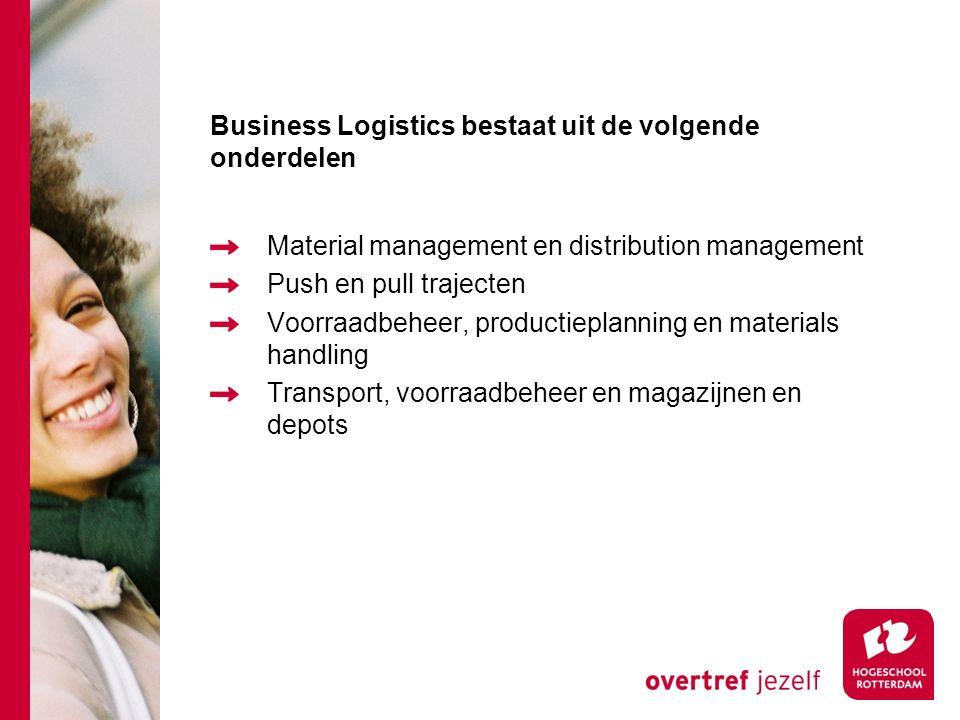 Business Logistics bestaat uit de volgende onderdelen Material management en distribution management Push en pull trajecten Voorraadbeheer, productiep