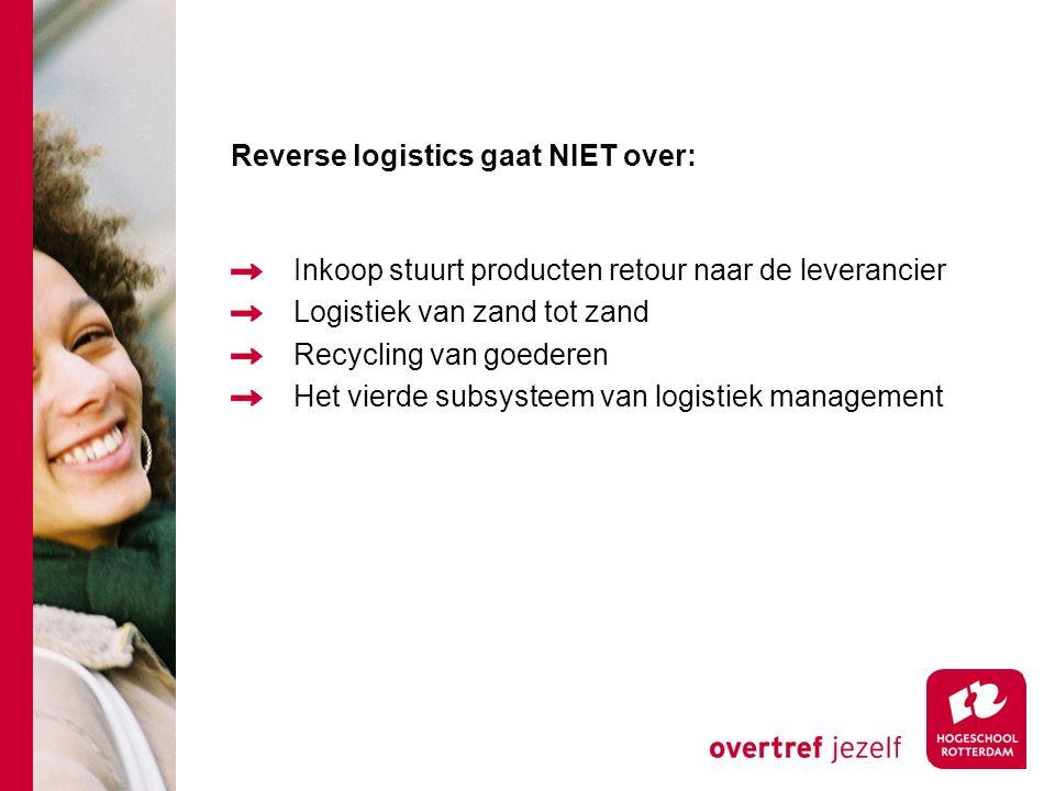 Reverse logistics gaat NIET over: Inkoop stuurt producten retour naar de leverancier Logistiek van zand tot zand Recycling van goederen Het vierde subsysteem van logistiek management