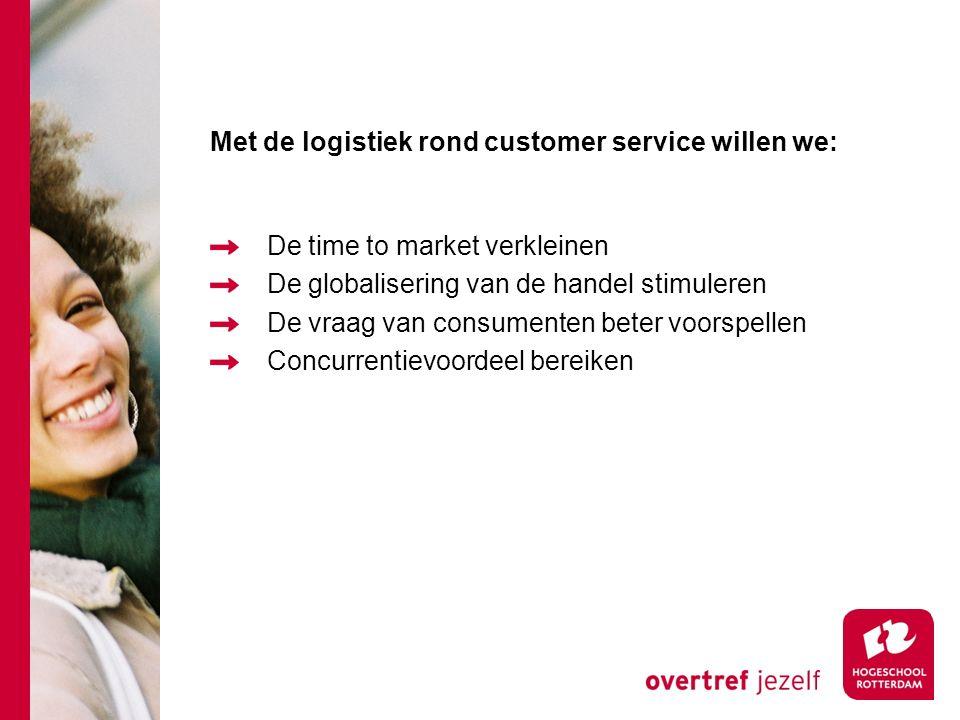 Met de logistiek rond customer service willen we: De time to market verkleinen De globalisering van de handel stimuleren De vraag van consumenten beter voorspellen Concurrentievoordeel bereiken