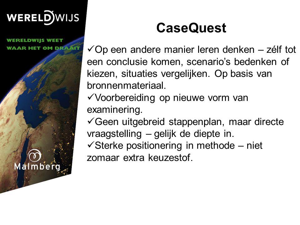 CaseQuest Op een andere manier leren denken – zélf tot een conclusie komen, scenario's bedenken of kiezen, situaties vergelijken.
