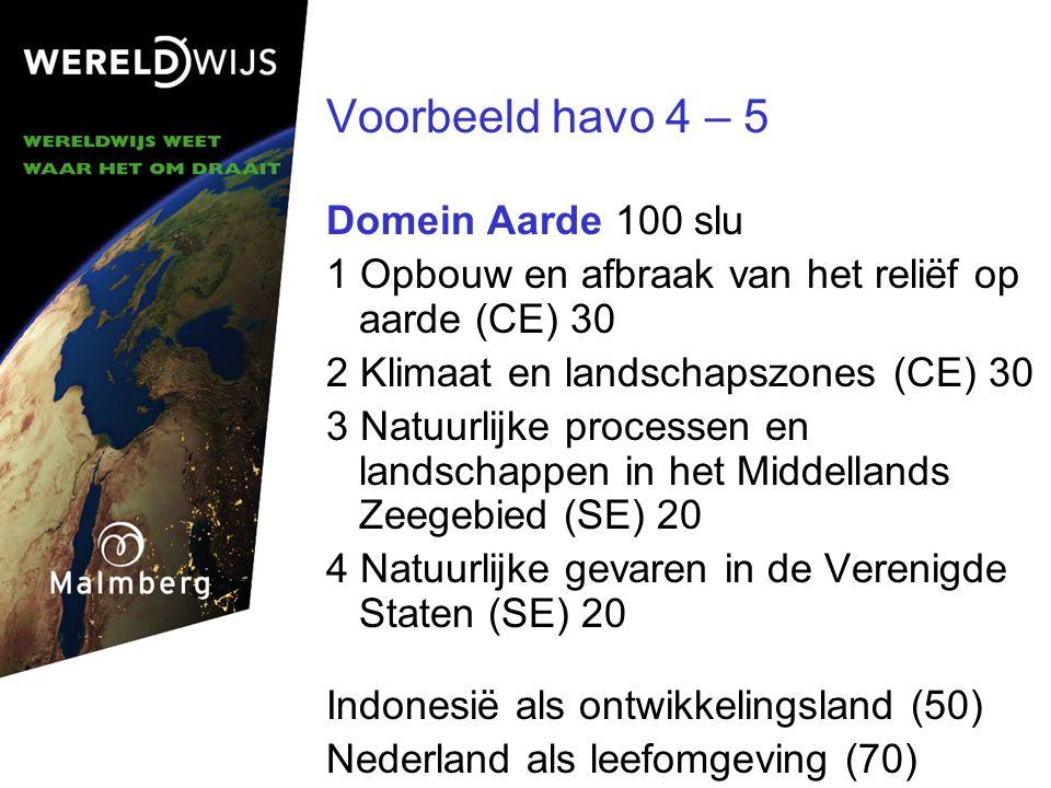 Voorbeeld havo 4 – 5 Domein Aarde 100 slu 1 Opbouw en afbraak van het reliëf op aarde (CE) 30 2 Klimaat en landschapszones (CE) 30 3 Natuurlijke processen en landschappen in het Middellands Zeegebied (SE) 20 4 Natuurlijke gevaren in de Verenigde Staten (SE) 20 Indonesië als ontwikkelingsland (50) Nederland als leefomgeving (70)