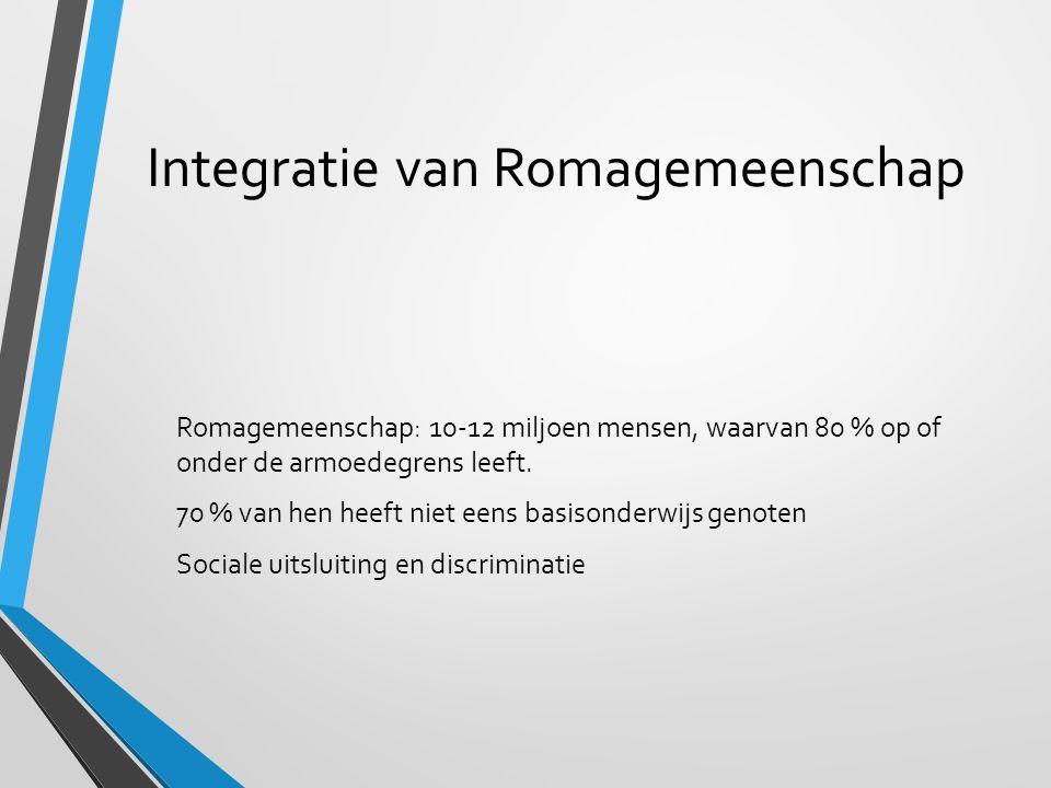 Integratie van Romagemeenschap Romagemeenschap: 10-12 miljoen mensen, waarvan 80 % op of onder de armoedegrens leeft.