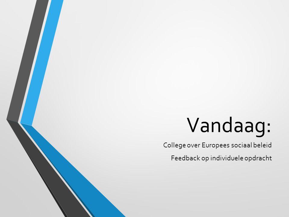 Vandaag: College over Europees sociaal beleid Feedback op individuele opdracht
