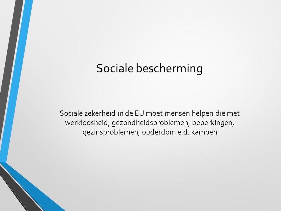 Sociale bescherming Sociale zekerheid in de EU moet mensen helpen die met werkloosheid, gezondheidsproblemen, beperkingen, gezinsproblemen, ouderdom e
