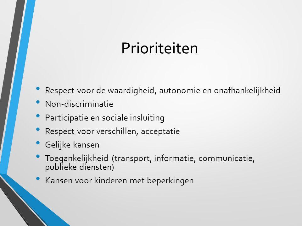 Prioriteiten Respect voor de waardigheid, autonomie en onafhankelijkheid Non-discriminatie Participatie en sociale insluiting Respect voor verschillen