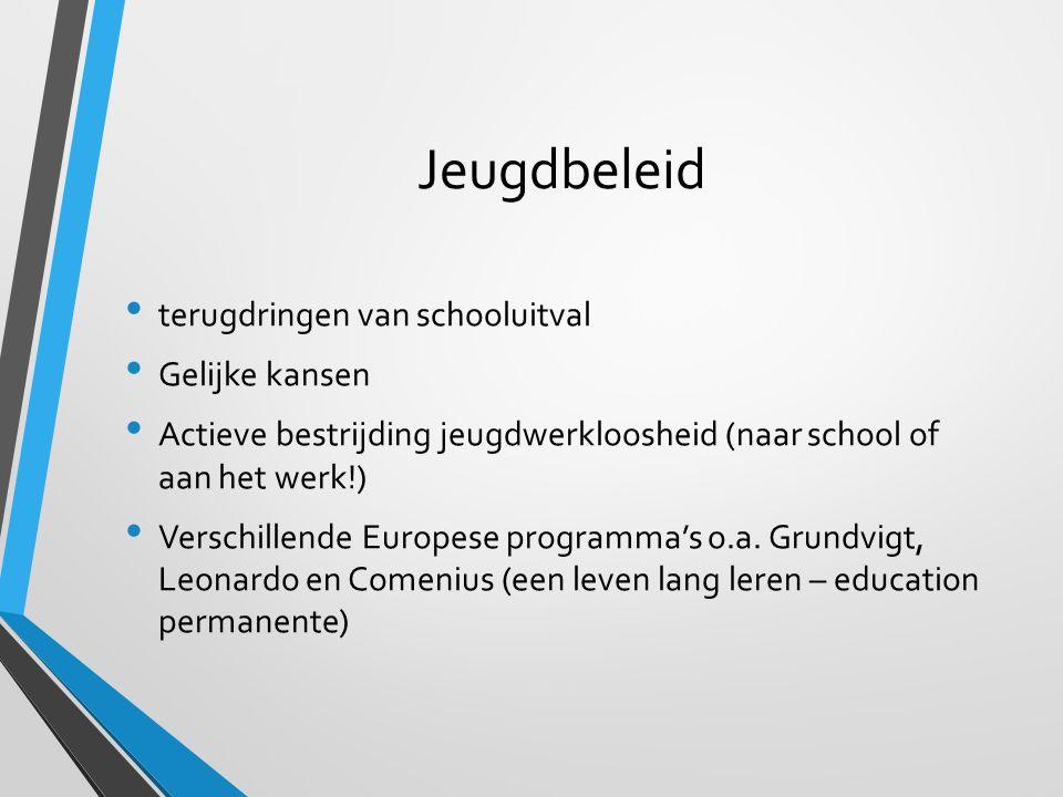 Jeugdbeleid terugdringen van schooluitval Gelijke kansen Actieve bestrijding jeugdwerkloosheid (naar school of aan het werk!) Verschillende Europese p