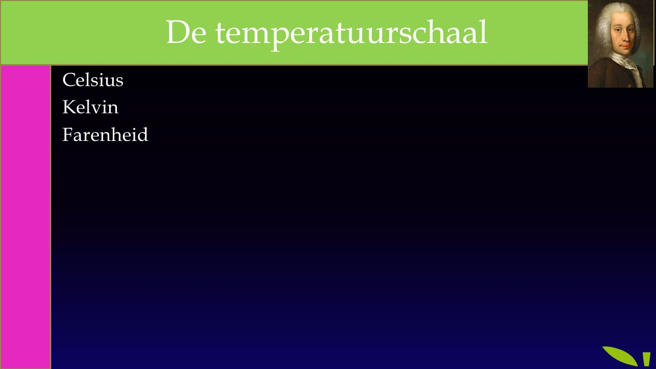 Celsius Kelvin Farenheid De temperatuurschaal