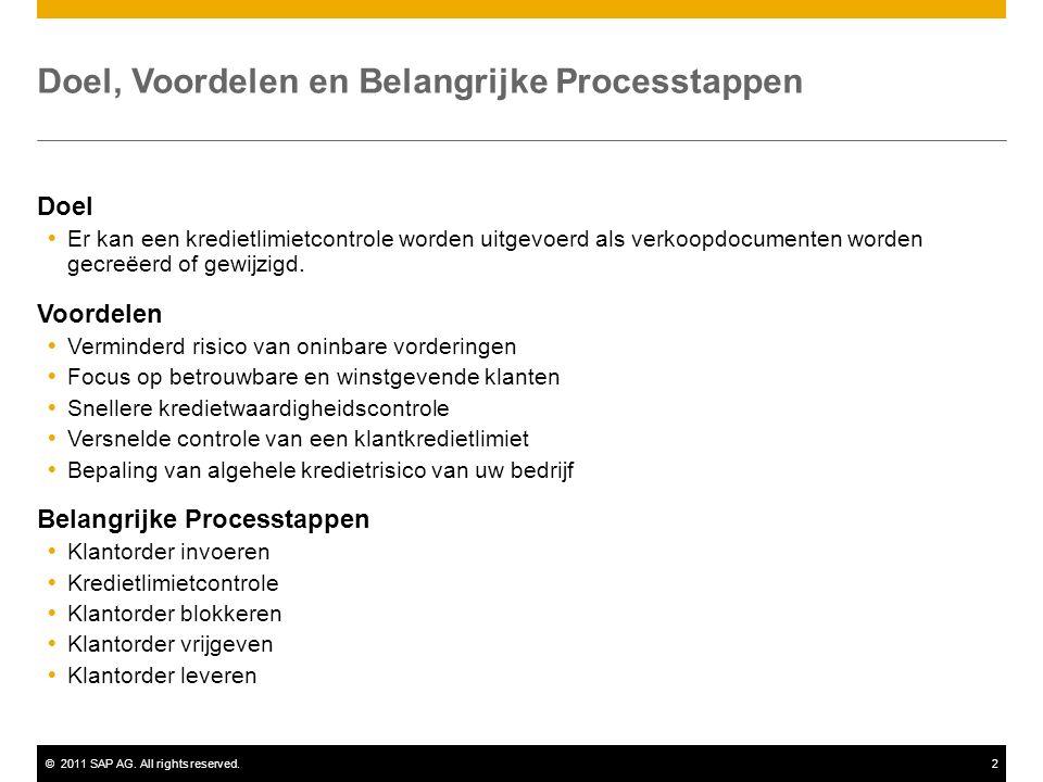 ©2011 SAP AG. All rights reserved.2 Doel, Voordelen en Belangrijke Processtappen Doel  Er kan een kredietlimietcontrole worden uitgevoerd als verkoop