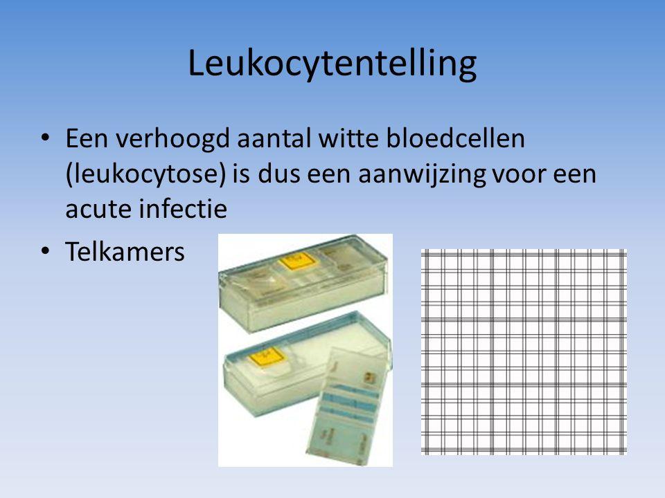 Leukocytentelling Een verhoogd aantal witte bloedcellen (leukocytose) is dus een aanwijzing voor een acute infectie Telkamers
