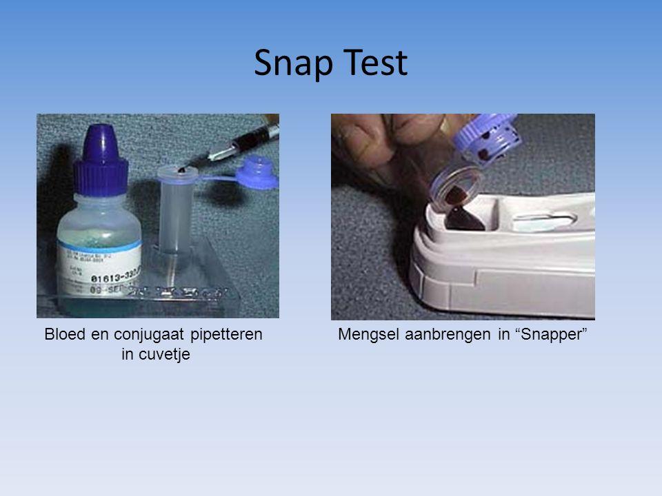 Snap Test Bloed en conjugaat pipetteren in cuvetje Mengsel aanbrengen in Snapper