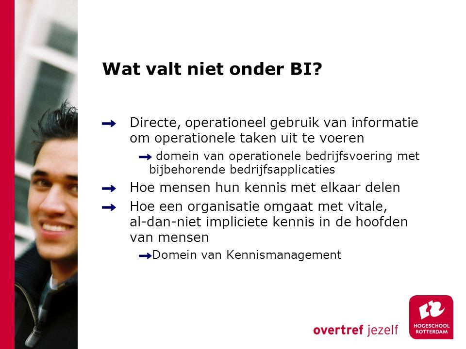 Wat valt niet onder BI? Directe, operationeel gebruik van informatie om operationele taken uit te voeren domein van operationele bedrijfsvoering met b