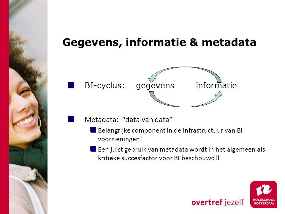 """Gegevens, informatie & metadata BI-cyclus: gegevens informatieMetadata: """"data van data"""" Belangrijke component in de infrastructuur van BI voorzieninge"""