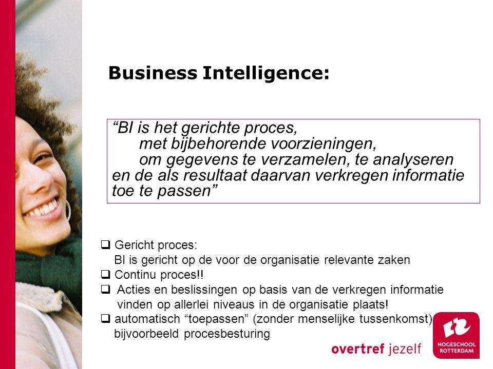 """Business Intelligence: """"BI is het gerichte proces, met bijbehorende voorzieningen, om gegevens te verzamelen, te analyseren en de als resultaat daarva"""