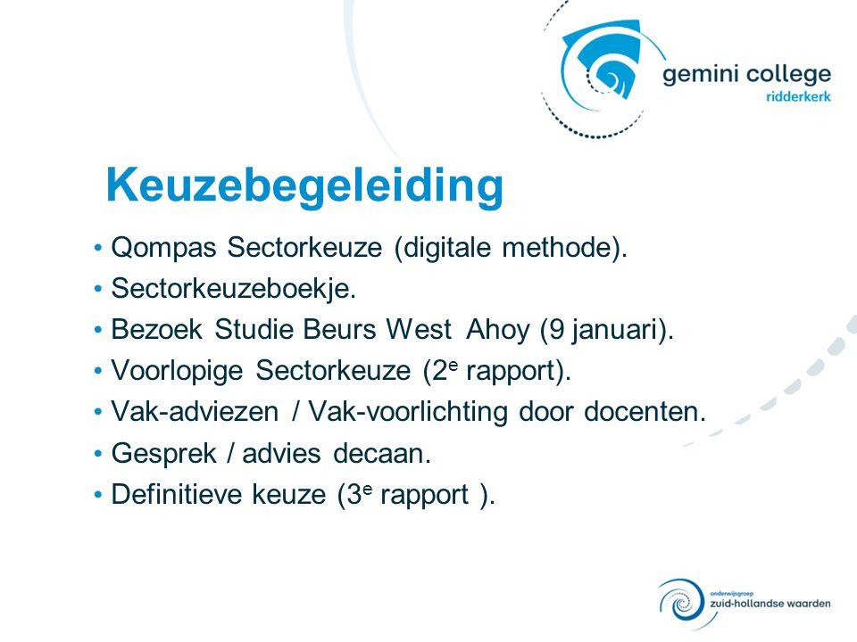 Keuzebegeleiding Qompas Sectorkeuze (digitale methode). Sectorkeuzeboekje. Bezoek Studie Beurs West Ahoy (9 januari). Voorlopige Sectorkeuze (2 e rapp