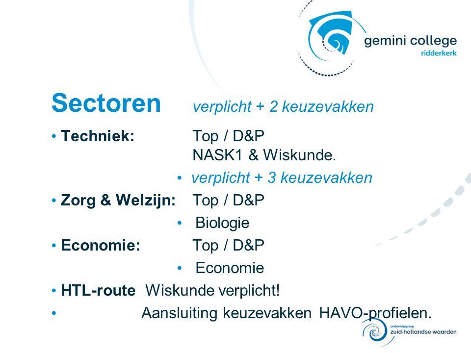 Sectoren verplicht + 2 keuzevakken Techniek:Top / D&P NASK1 & Wiskunde.