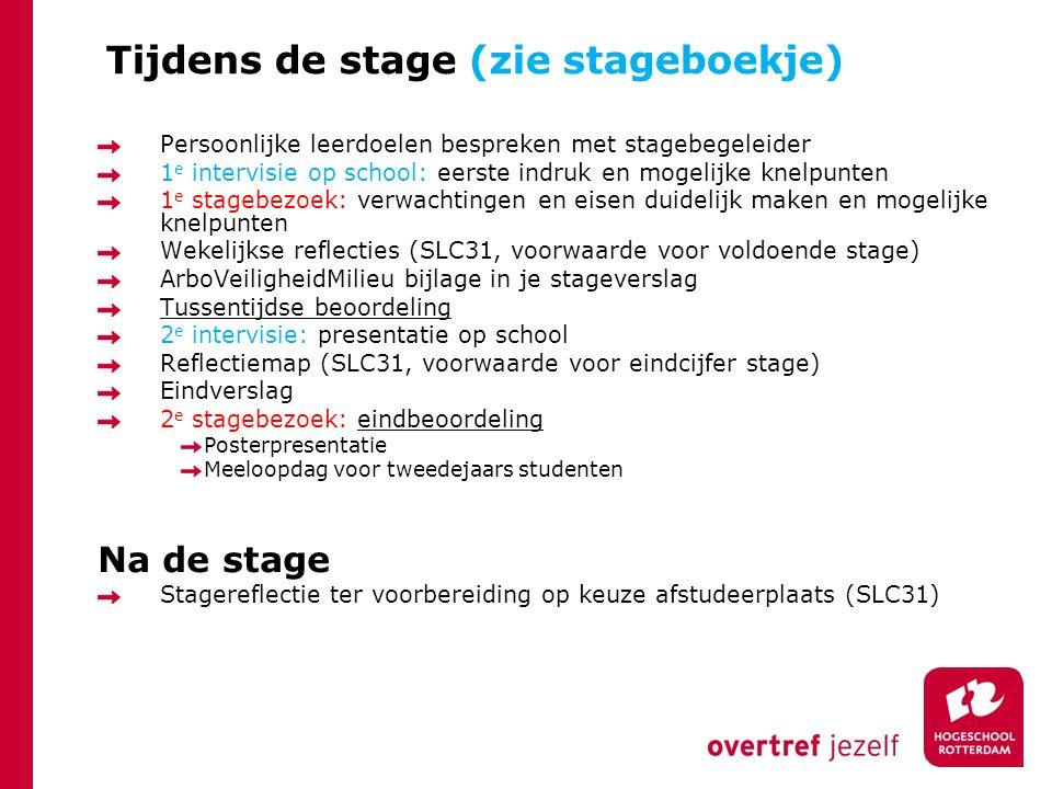 Tijdens de stage (zie stageboekje) Persoonlijke leerdoelen bespreken met stagebegeleider 1 e intervisie op school: eerste indruk en mogelijke knelpunt
