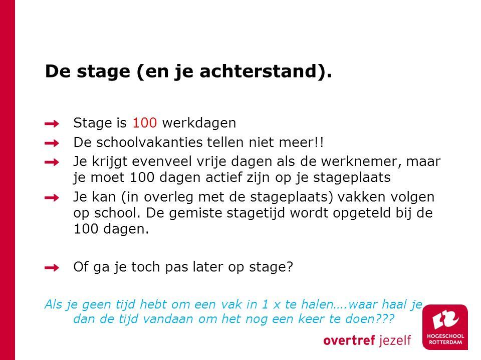 De stage (en je achterstand). Stage is 100 werkdagen De schoolvakanties tellen niet meer!! Je krijgt evenveel vrije dagen als de werknemer, maar je mo