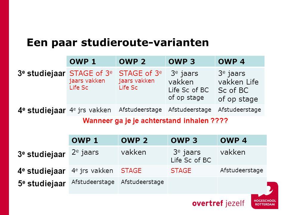 OWP 1OWP 2OWP 3OWP 4 2 e jaarsvakken 3 e jaars Life Sc of BC vakken 4 e jrs vakkenSTAGE Afstudeerstage Een paar studieroute-varianten OWP 1OWP 2OWP 3O