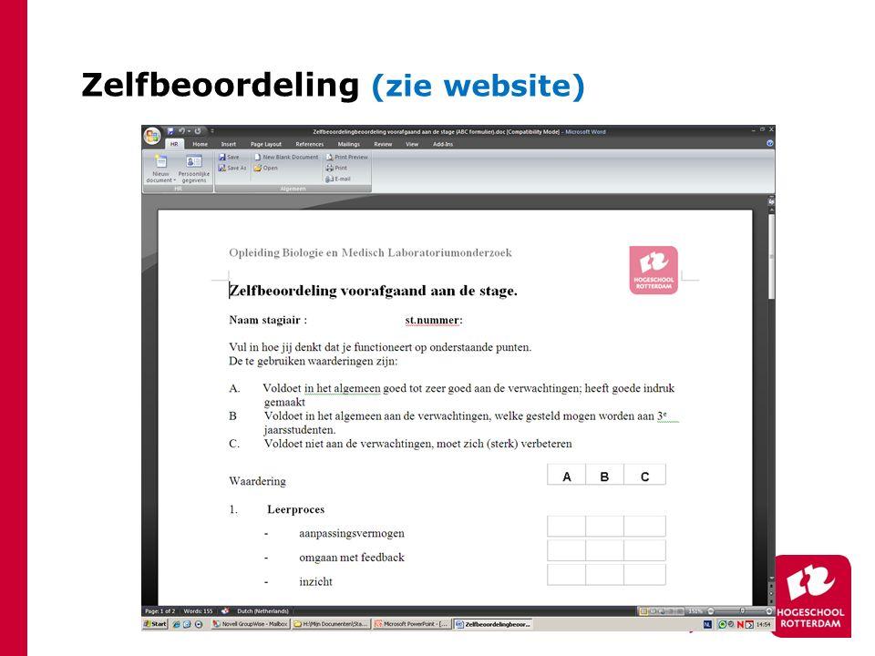 Zelfbeoordeling (zie website)