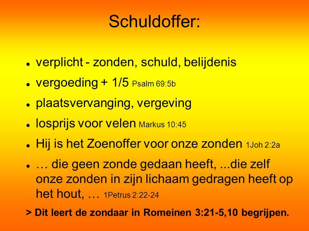 Schuldoffer: verplicht - zonden, schuld, belijdenis vergoeding + 1/5 Psalm 69:5b plaatsvervanging, vergeving losprijs voor velen Markus 10:45 Hij is het Zoenoffer voor onze zonden 1Joh 2:2a … die geen zonde gedaan heeft,...die zelf onze zonden in zijn lichaam gedragen heeft op het hout, … 1Petrus 2:22-24 > Dit leert de zondaar in Romeinen 3:21-5,10 begrijpen.