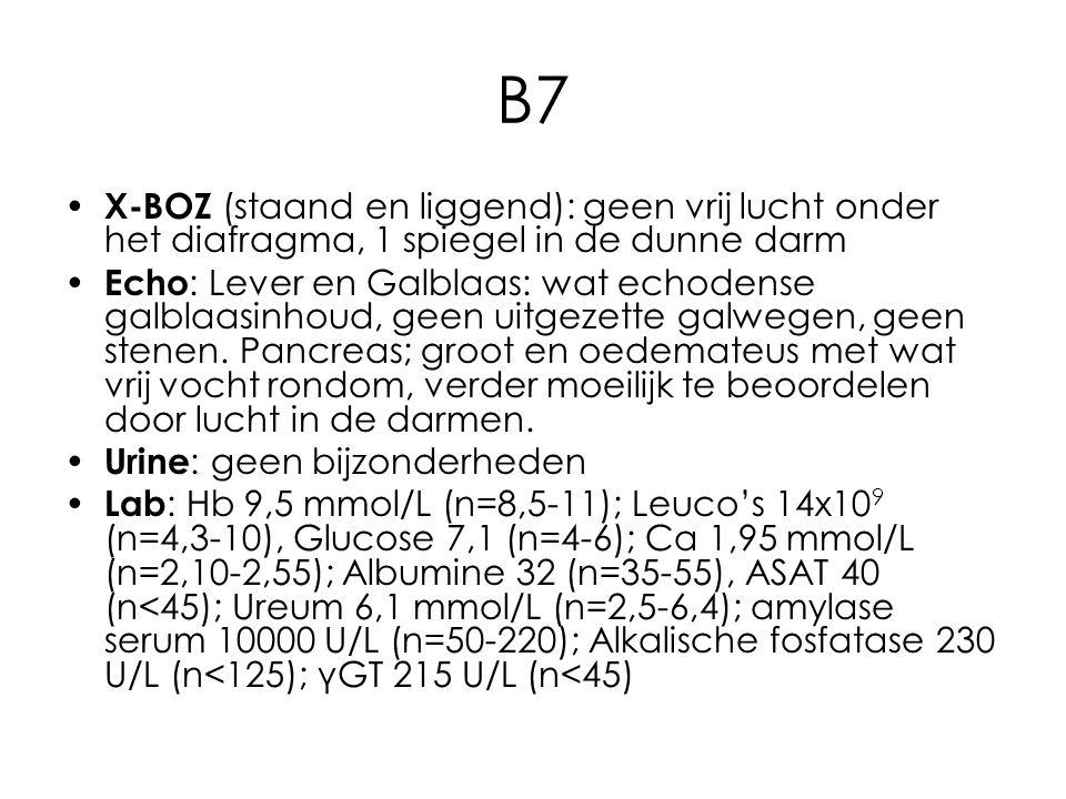 B7 X-BOZ (staand en liggend): geen vrij lucht onder het diafragma, 1 spiegel in de dunne darm Echo : Lever en Galblaas: wat echodense galblaasinhoud, geen uitgezette galwegen, geen stenen.
