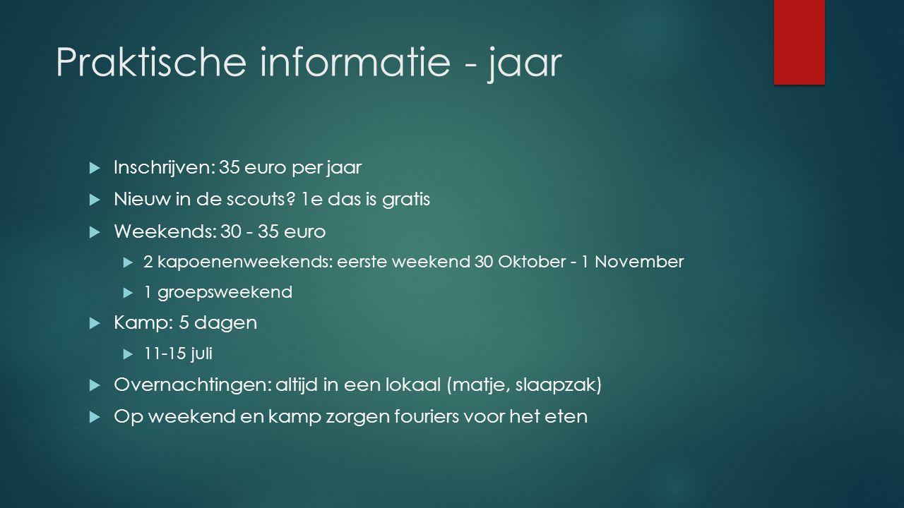 Praktische informatie - jaar  Inschrijven: 35 euro per jaar  Nieuw in de scouts.