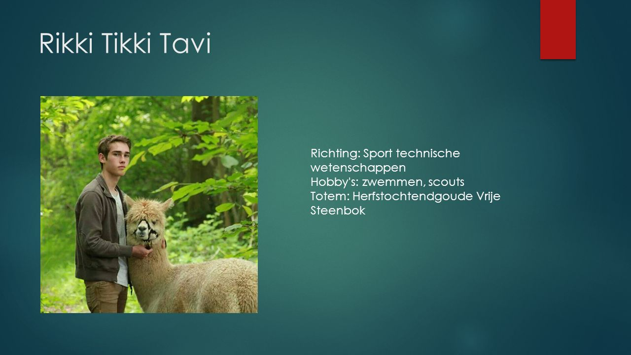 Rikki Tikki Tavi Richting: Sport technische wetenschappen Hobby s: zwemmen, scouts Totem: Herfstochtendgoude Vrije Steenbok