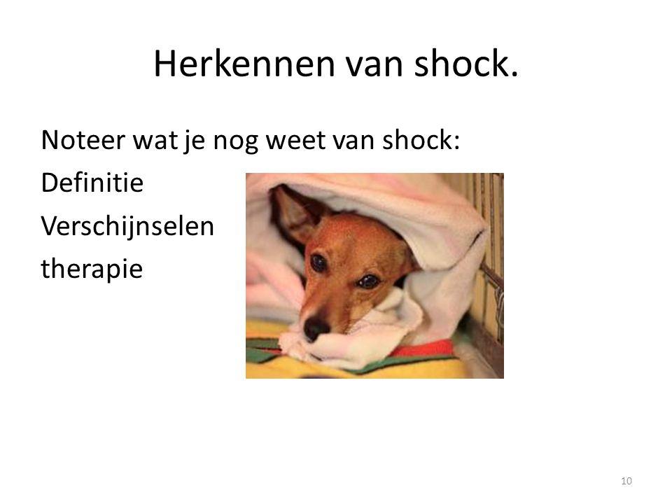 Herkennen van shock. Noteer wat je nog weet van shock: Definitie Verschijnselen therapie 10