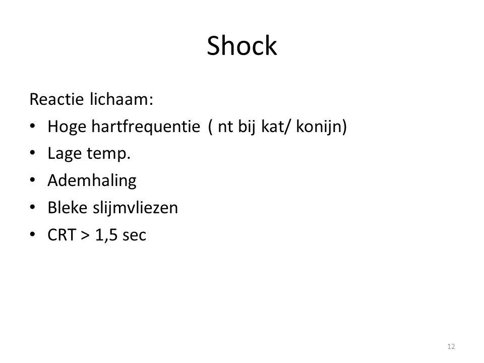 Shock Reactie lichaam: Hoge hartfrequentie ( nt bij kat/ konijn) Lage temp. Ademhaling Bleke slijmvliezen CRT > 1,5 sec 12