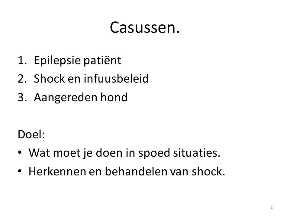 Casussen. 1.Epilepsie patiënt 2.Shock en infuusbeleid 3.Aangereden hond Doel: Wat moet je doen in spoed situaties. Herkennen en behandelen van shock.