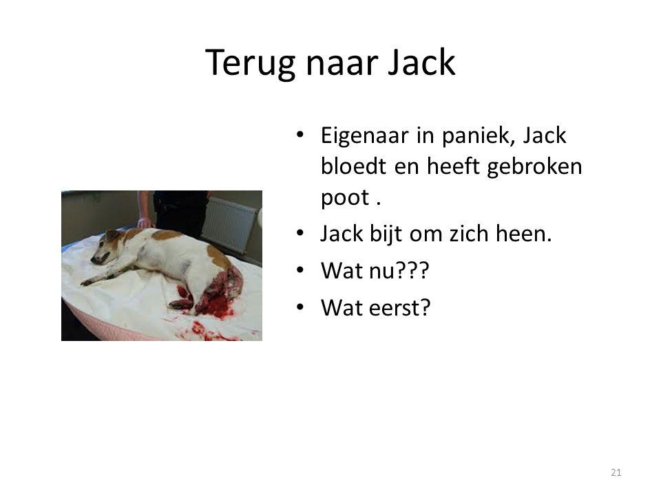 Terug naar Jack Eigenaar in paniek, Jack bloedt en heeft gebroken poot. Jack bijt om zich heen. Wat nu??? Wat eerst? 21