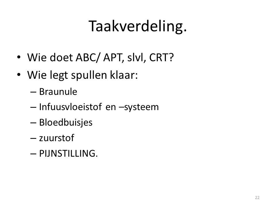 Taakverdeling. Wie doet ABC/ APT, slvl, CRT? Wie legt spullen klaar: – Braunule – Infuusvloeistof en –systeem – Bloedbuisjes – zuurstof – PIJNSTILLING