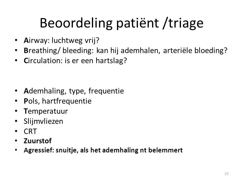 Beoordeling patiënt /triage Airway: luchtweg vrij? Breathing/ bleeding: kan hij ademhalen, arteriële bloeding? Circulation: is er een hartslag? Ademha