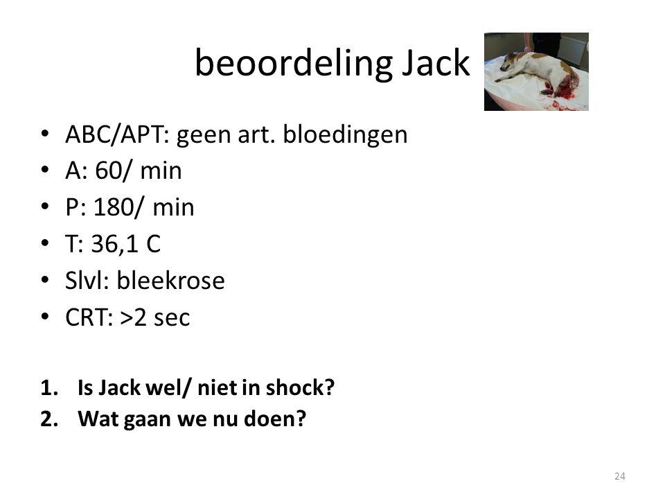 beoordeling Jack ABC/APT: geen art. bloedingen A: 60/ min P: 180/ min T: 36,1 C Slvl: bleekrose CRT: >2 sec 1.Is Jack wel/ niet in shock? 2.Wat gaan w