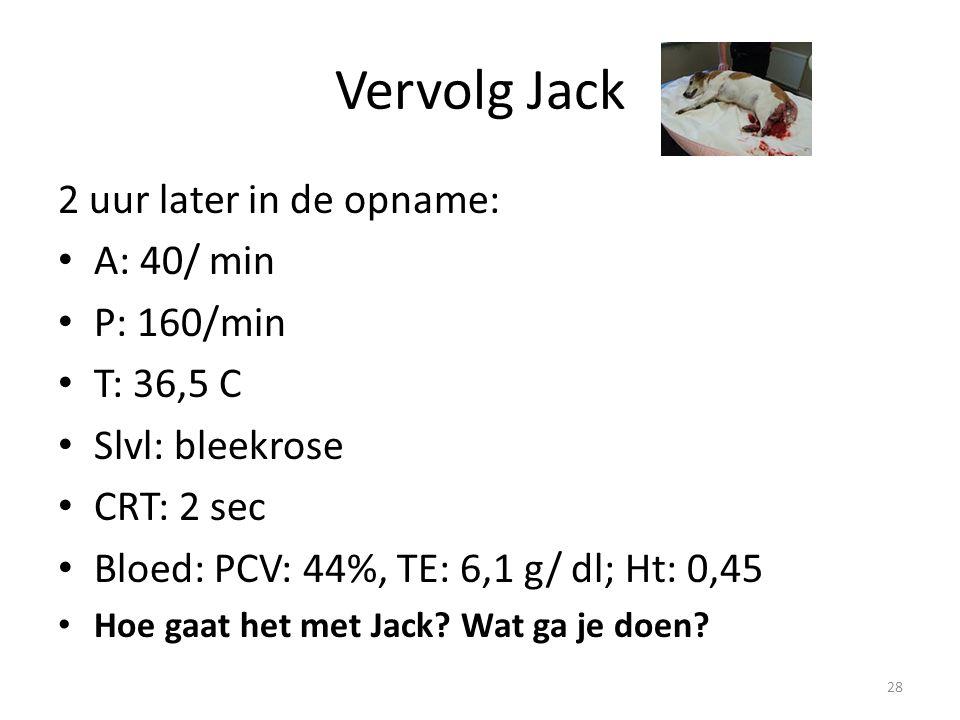 Vervolg Jack 2 uur later in de opname: A: 40/ min P: 160/min T: 36,5 C Slvl: bleekrose CRT: 2 sec Bloed: PCV: 44%, TE: 6,1 g/ dl; Ht: 0,45 Hoe gaat het met Jack.