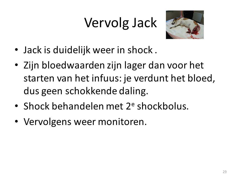 Vervolg Jack Jack is duidelijk weer in shock. Zijn bloedwaarden zijn lager dan voor het starten van het infuus: je verdunt het bloed, dus geen schokke