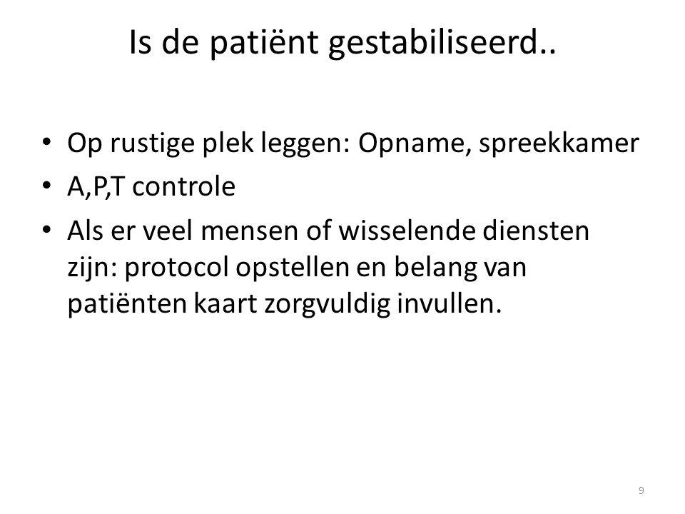 Is de patiënt gestabiliseerd.. Op rustige plek leggen: Opname, spreekkamer A,P,T controle Als er veel mensen of wisselende diensten zijn: protocol ops