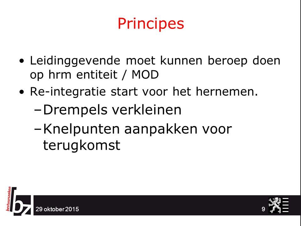 Principes 29 oktober 20159 Leidinggevende moet kunnen beroep doen op hrm entiteit / MOD Re-integratie start voor het hernemen.