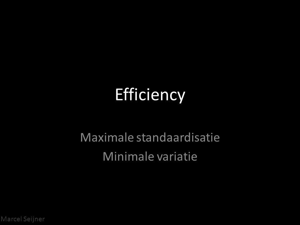 Marcel Seijner Efficiency Maximale standaardisatie Minimale variatie