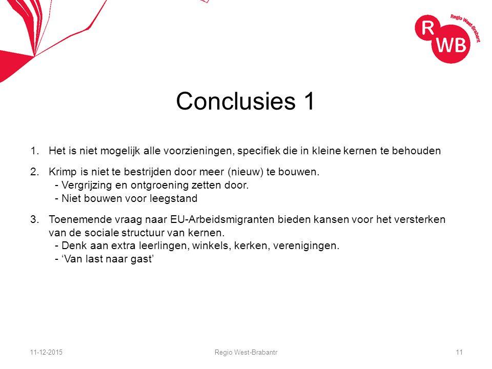Conclusies 1 1.Het is niet mogelijk alle voorzieningen, specifiek die in kleine kernen te behouden 2.Krimp is niet te bestrijden door meer (nieuw) te bouwen.