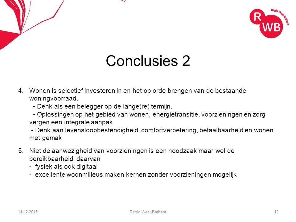 Conclusies 2 4.Wonen is selectief investeren in en het op orde brengen van de bestaande woningvoorraad.