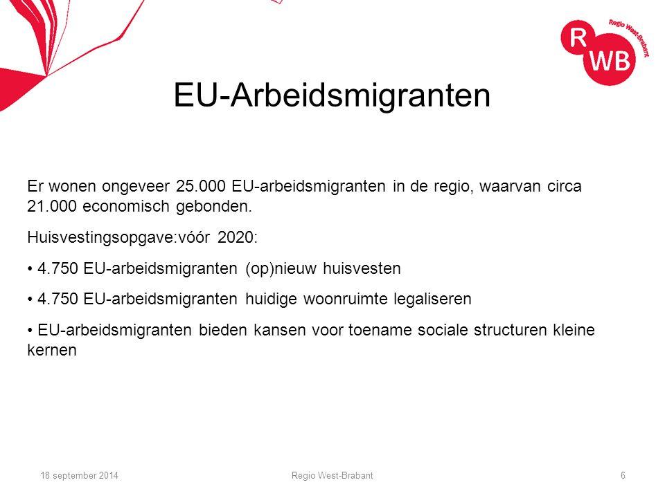 EU-Arbeidsmigranten Er wonen ongeveer 25.000 EU-arbeidsmigranten in de regio, waarvan circa 21.000 economisch gebonden.