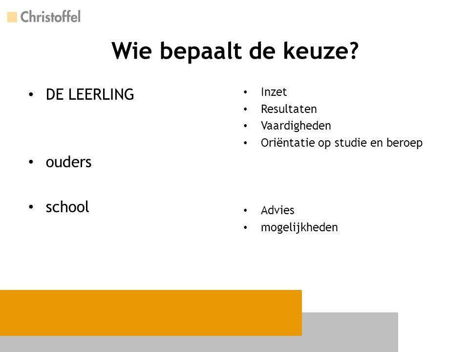 Wie bepaalt de keuze? DE LEERLING ouders school Inzet Resultaten Vaardigheden Oriëntatie op studie en beroep Advies mogelijkheden