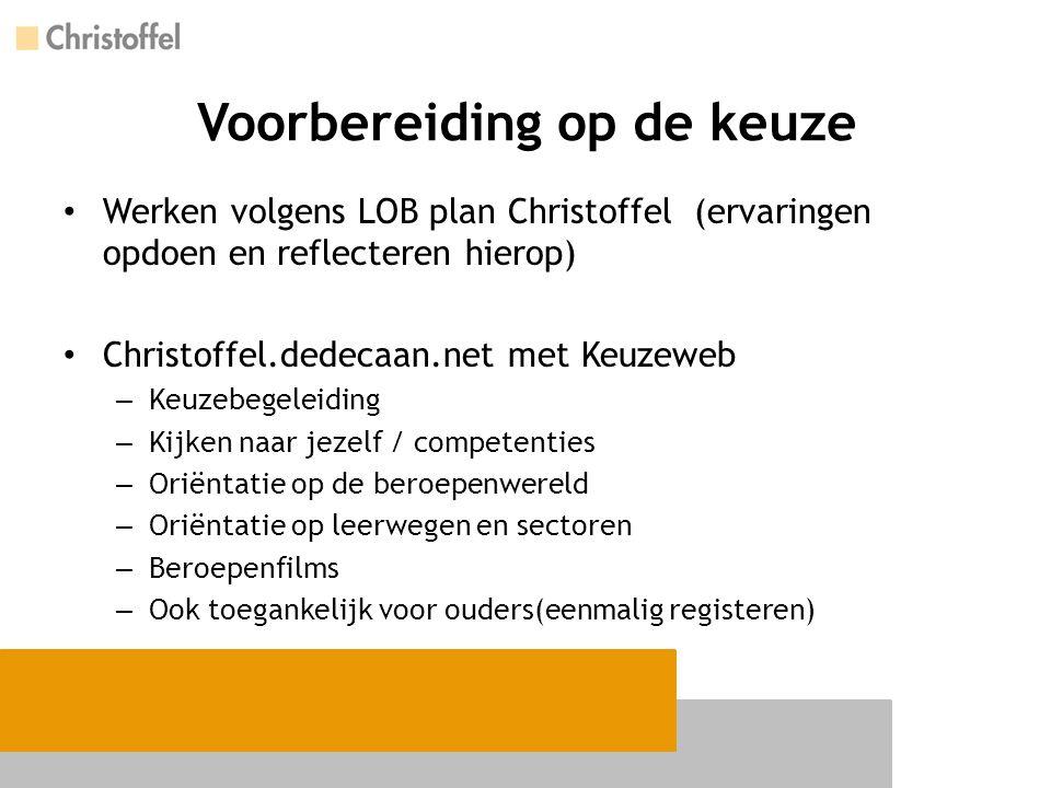 Voorbereiding op de keuze Werken volgens LOB plan Christoffel(ervaringen opdoen en reflecteren hierop) Christoffel.dedecaan.net met Keuzeweb – Keuzebe